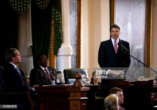 Texas Gov Rick Perry addresses the Senate chamber during the first day of the 82nd Legislative session on January 11 2011 in Austin Texas Gov Perry...