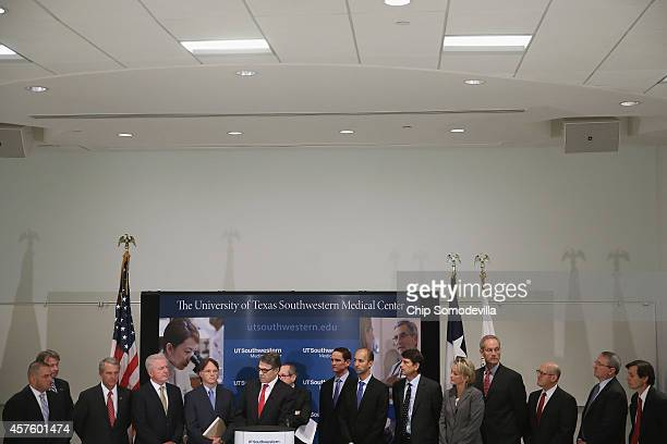 Texas Gov. Rick Perry leads a press conference with other health and hospital officials about the state's ongoing response to the Ebola virus at the...