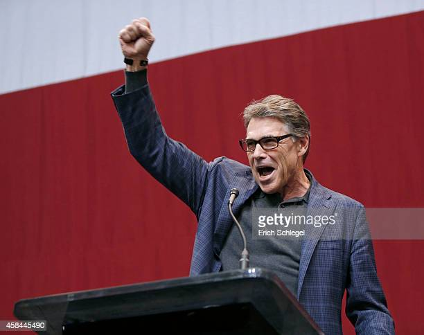 Texas Gov Rick Perry speaks during the victory party for Texas Attorney General and Republican gubernatorial candidate Greg Abbott after an apparent...
