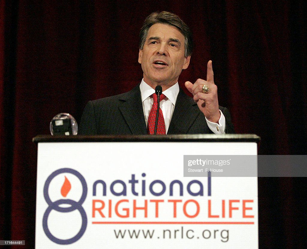 Texas Gov. Rick Perry speaks to the National Right to Life convention at the Hyatt Regency DFW International Airport Hotel June 27, 2013 in Grapevine, Texas. Perry has reportedly vowed to continue the fight for a more restrictive abortion law in Texas after the state legislature failed to get the law passed during a special session because of a filibuster and protests.