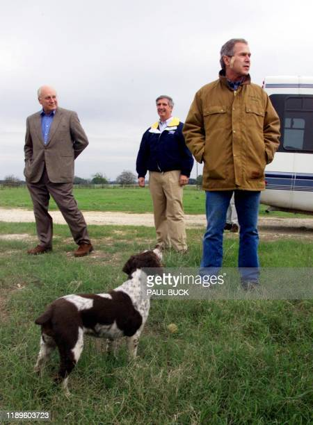 Texas Governor and Republican presidential candidate George W Bush wraps up his Q A with members of the media at his ranch in Crawford Texas 11...
