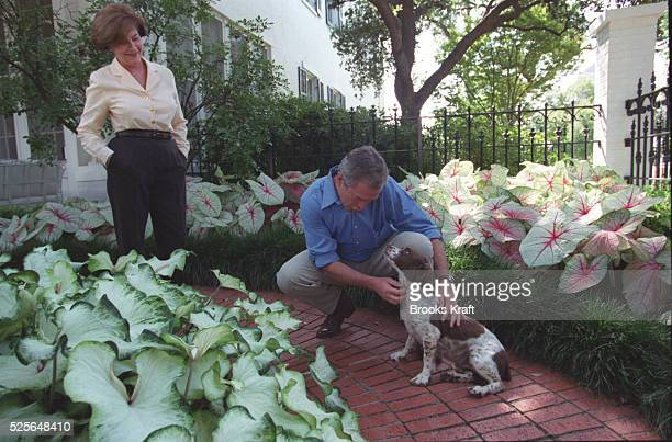 Texas Governor George W Bush plays with the family dog Spot while his wife Laura looks on Bush took time out to play with the family pet during his...