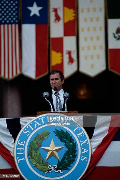 Texas Governor George W Bush speaks at his inauguration ceremony outside the Texas State Capitol in Austin