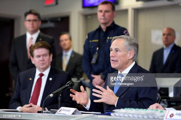 Texas Governor Greg Abbott addresses the media during a press conference held at Arlington Emergency Management on March 18 2020 in Arlington Texas...