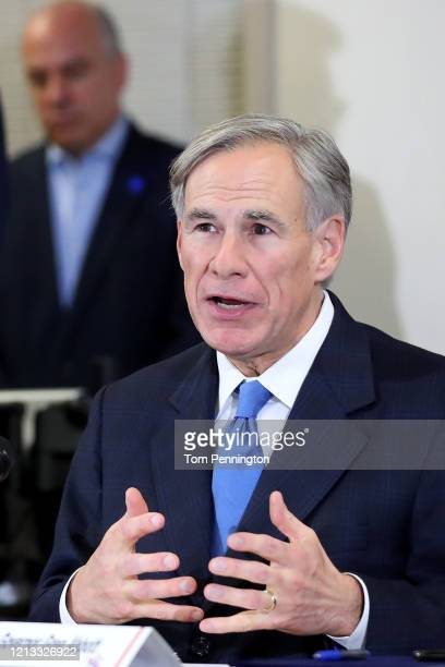 Texas Governor Greg Abbott addresses the media during a press conference held at Arlington Emergency Management on March 18, 2020 in Arlington,...