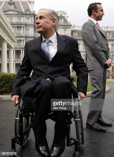 Texas Governor Greg Abbott and Assistant to the President for Intragovernmental and Technology Initiatives Reed Cordish participate in a news...