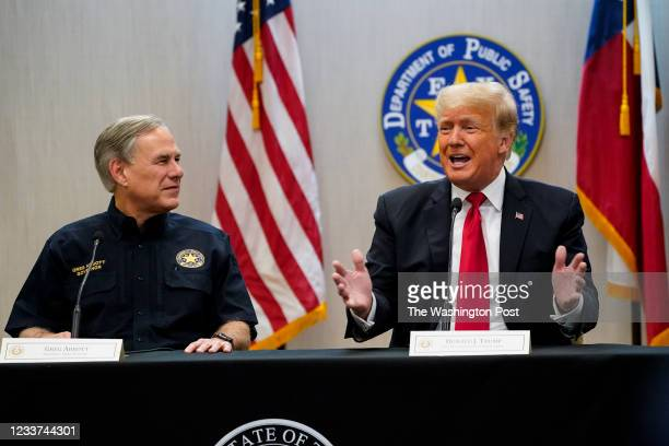 June 30: Texas Governor Greg Abbott and former President Donald J. Trump attend a security briefing with state officials and law enforcement at the...