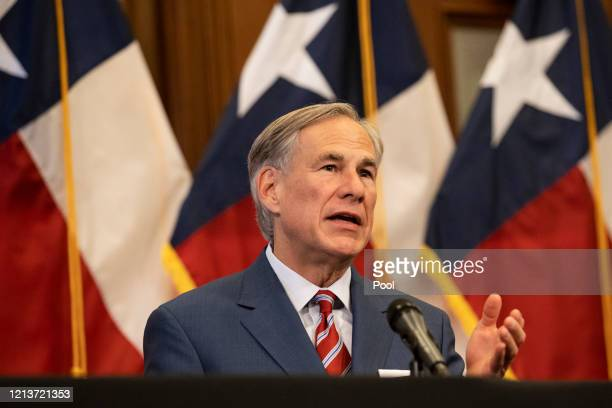 Texas Governor Greg Abbott announces the reopening of more Texas businesses during the COVID19 pandemic at a press conference at the Texas State...