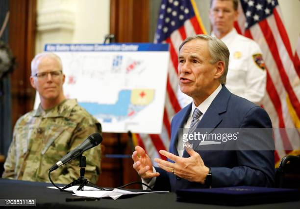 Texas Governor Greg Abbott announces the US Army Corps of Engineers and the state are putting up a 250-bed field hospital at the Kay Bailey Hutchison...