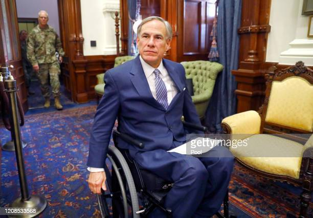 Texas Governor Greg Abbott arrives for his COVID19 press conference at the Texas State Capitol in Austin He announced the US Army Corps of Engineers...