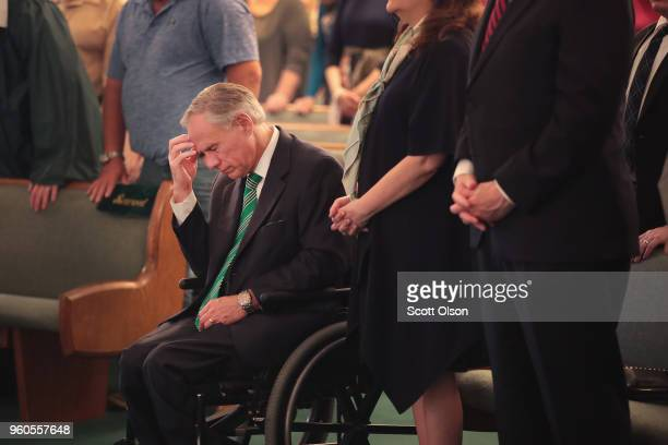 Texas Governor Greg Abbott attends Sunday service at Arcadia First Baptist Church near Santa Fe High School on May 20 2018 in Santa Fe Texas Last...