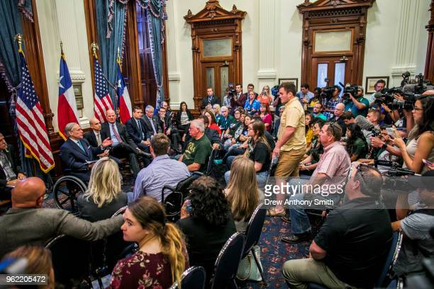 Texas Governor Greg Abbott holds a roundtable discussion with victims family and friends affected by the Santa Fe Texas school shooting at the state...