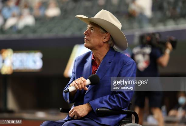 Texas Governor Greg Abbott is seen on field before Game 1 of the 2020 World Series between the Los Angeles Dodgers and the Tampa Bay Rays at Globe...