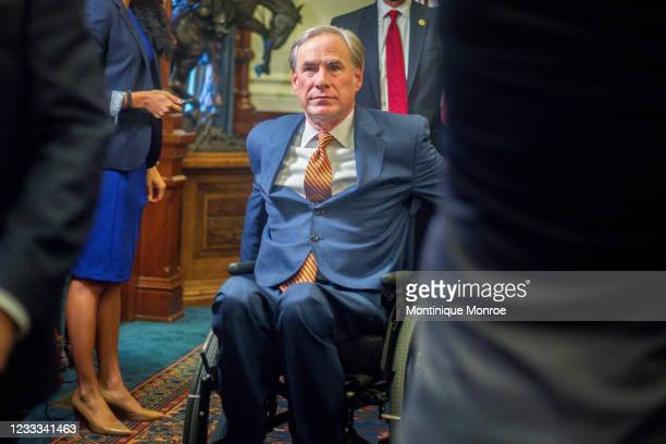 Texas Governor Greg Abbott leaves a press conference where he signed Senate Bills 2 and 3 at the Capitol on June 8, 2021 in Austin, Texas. Governor...