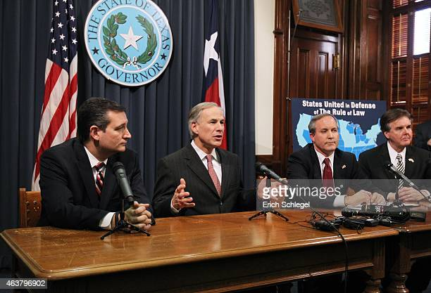Texas Governor Greg Abbott speaks alongside US Sen Ted Cruz Attorney General Ken Paxton Lieutenant Governor Dan Patrick hold a joint press conference...