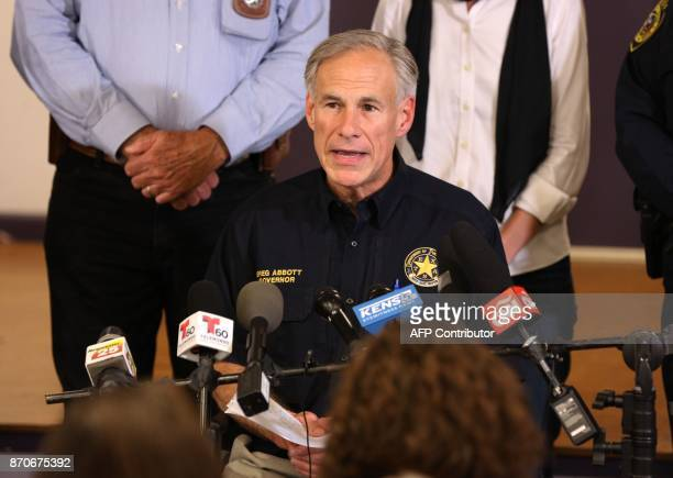 Texas Governor Greg Abbott speaks at a press conference on November 5 in Sutherland Springs Texas about the First Baptist Church mass shooting 'There...