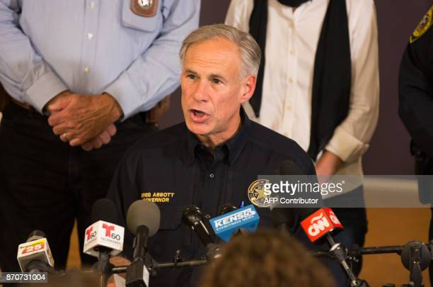 Texas Governor Greg Abbott speaks at a press conference on November 5 in Sutherland Springs Texas about the First Baptist Church mass shooting There...