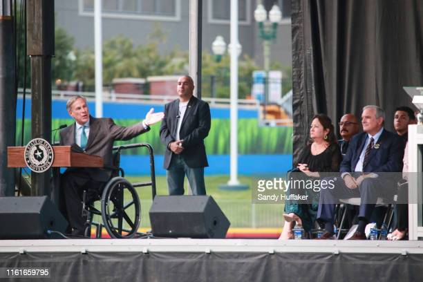 Texas Governor Greg Abbott speaks during a community memorial service honoring victims of the mass shooting earlier this month which left 22 people...