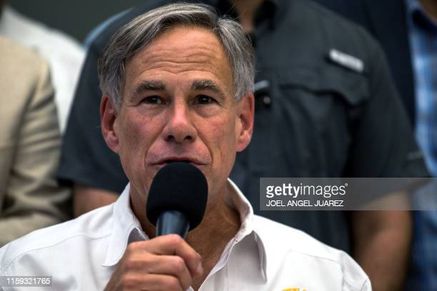Texas Governor Greg Abbott speaks during a press briefing following a mass fatal shooting at the El Paso Regional Communications Center in El Paso...