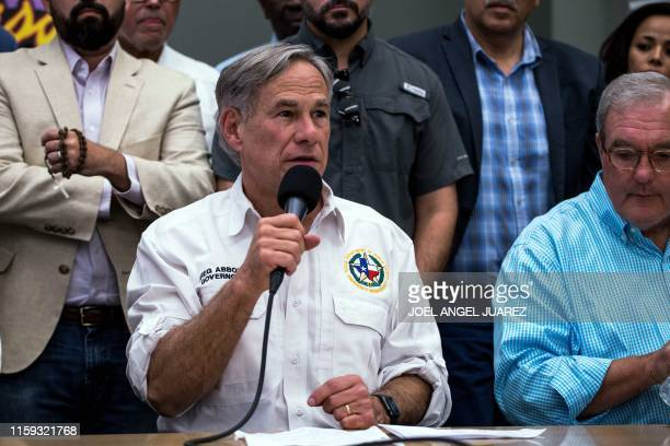 Texas Governor Greg Abbott speaks during a press briefing, following a mass fatal shooting, at the El Paso Regional Communications Center in El Paso,...
