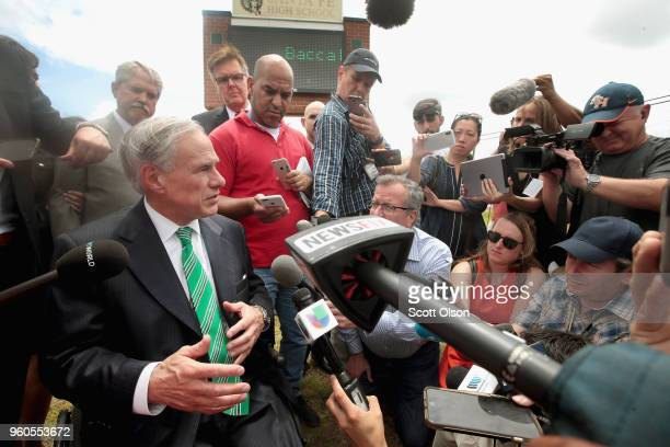 Texas Governor Greg Abbott speaks to the press during a visit to Santa Fe High School on May 20 2018 in Santa Fe Texas Last Friday 17yearold student...