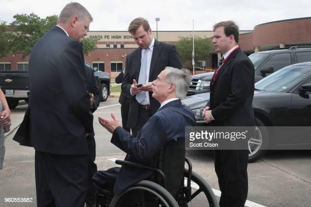 Texas Governor Greg Abbott visits Santa Fe High School on May 20 2018 in Santa Fe Texas Last Friday 17yearold student Dimitrios Pagourtzis entered...