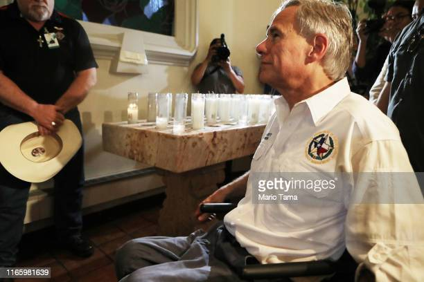 Texas Governor Greg Abbott visits St Pius X Church following a vigil for victims after a mass shooting which left at least 20 people dead on August 3...