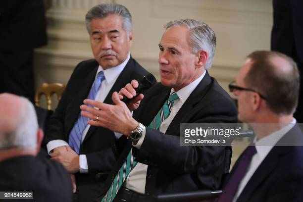 Texas Governor Gregg Abbott speaks during a business session with fellow governores including Hawaii Governor David Ige hosted by US President Donald...
