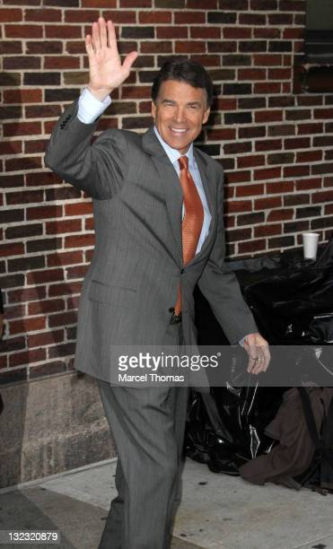 """Texas Governor Rick Perry is seen leaving the """"Late Show With David Letterman"""" at the Ed Sullivan Theater on November 10, 2011 in New York City."""