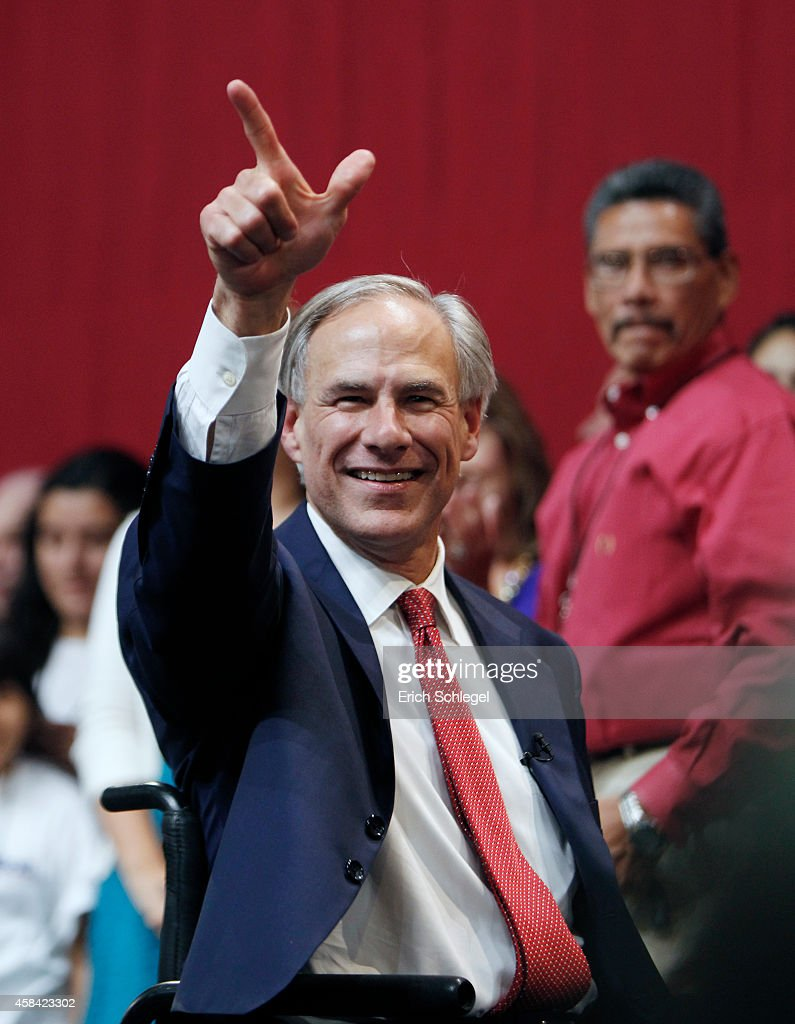 Texas Attorney General And Gubernatorial Candidate Greg Abbott Attends Election Night Election Rally : News Photo