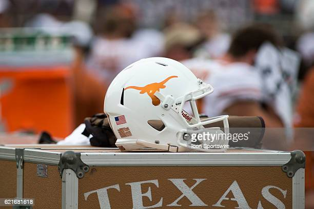 Texas helmet during the game between Texas Longhorns and Texas Tech Red Raiders on November 5 at Jones ATT Stadium in Lubbock TX