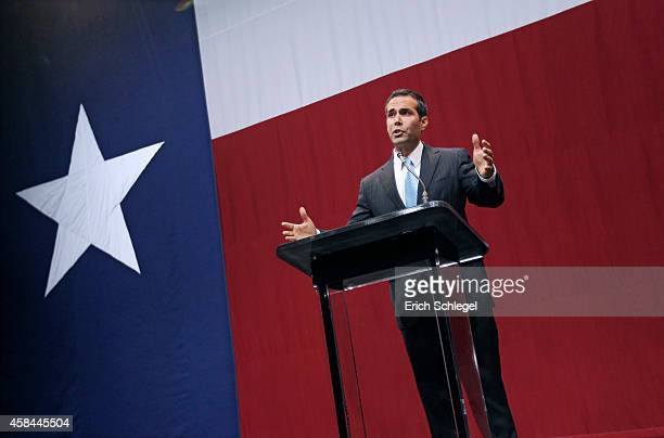 Texas Land Commissionerelect George P Bush speaks during the victory party for Texas Attorney General and Republican gubernatorial candidate Greg...