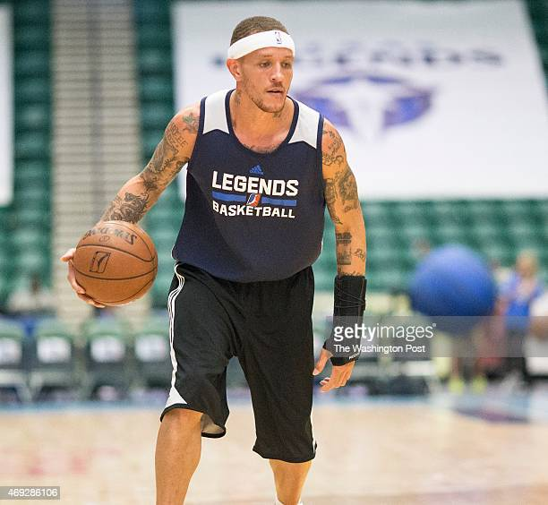 Texas Legends basketball player Delonte West on the court during a solo pregame workout at the Dr Pepper Arena on April 1 2015 in Frisco Texas West...