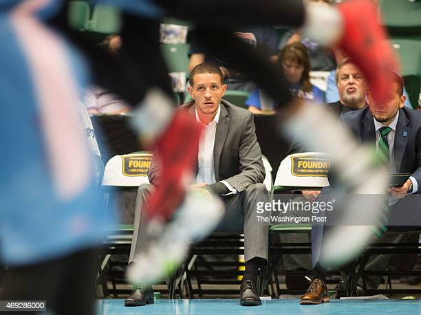 Texas Legends basketball player Delonte West watches his teammates play from the bench at the Dr Pepper Arena on April 1 2015 in Frisco Texas The...