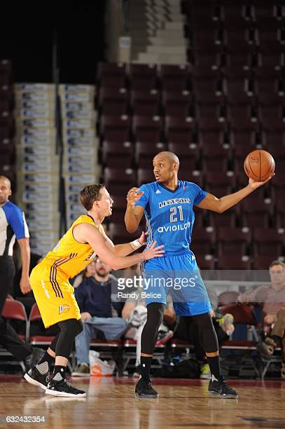 Texas Legends guard CJ Williams handles the ball during a game against the Los Angeles DFenders as part of 2017 NBA DLeague Showcase at the Hershey...