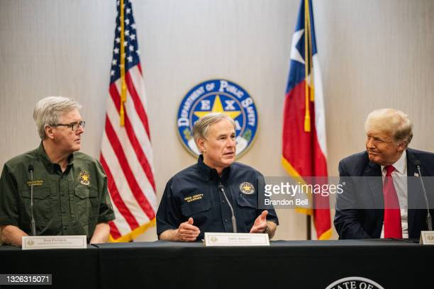 Texas Lieutenant Gov. Dan Patrick, Gov. Greg Abbott, and former President Donald Trump attend a border security briefing to discuss further plans in...