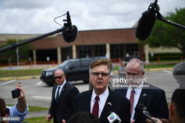 Texas Lieutenant Governor Dan Patrick speaks to the press on the grounds of Santa Fe High School on May 2018 in Santa Fe Texas Ten people mostly...