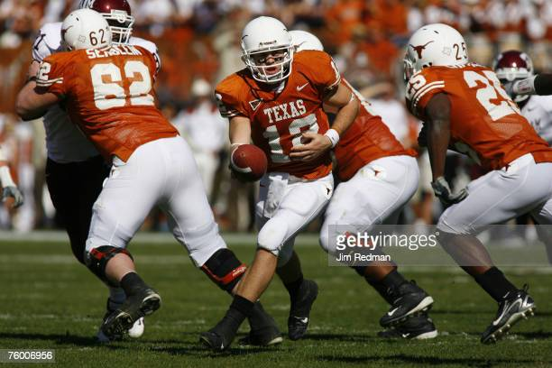Texas Longhorn Colt McCoy in the game against the Texas A&M Aggies at Darrell K Royal Memorial Stadium in Austin Texas on November 24, 2006. The...