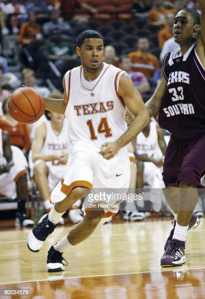 Texas Longhorn D.J. Augustin in the game against the Texas Southern Tigers at Frank Erwin Center in Austin, Texas on November 28, 2006. The Longhorns...