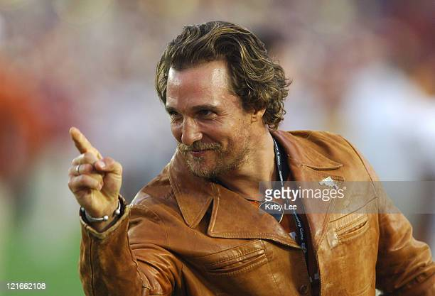 Texas Longhorn fan Matthew McConaughey before the 2006 Rose Bowl game at the Rose Bowl in Pasadena California on January 4 2006
