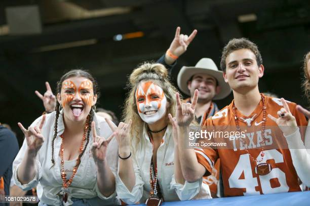 Texas Longhorn fans in face paint during the Allstate Sugar Bowl game between the Georgia Bulldogs and the Texas Longhorns on January 1 2019 at the...