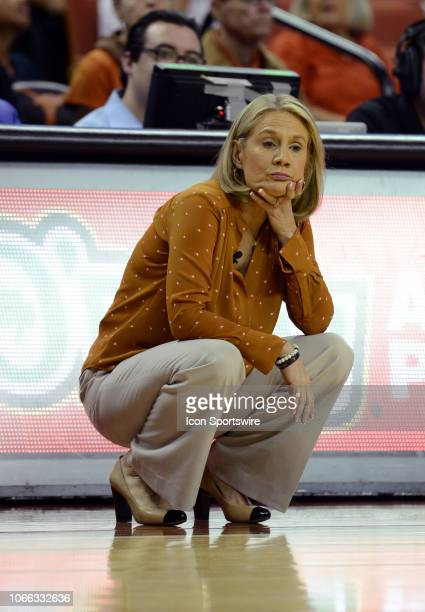 Texas Longhorn head coach Karen Aston watches action during game against the UTSA Roadrunners on November 28 2018 at the Frank Erwin Center in Austin...