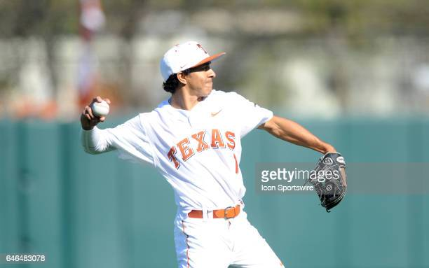 Texas Longhorn infielder David Hamilton throws between innings during game between the Texas Longhorns and the UConn Huskies on February 25 2017 at...