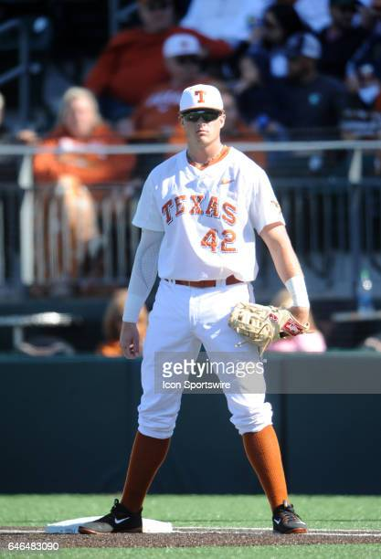 Texas Longhorn infielder Kacy Clemens gets set at 1st base during game between the Texas Longhorns and the UConn Huskies on February 25 2017 at UFCU...