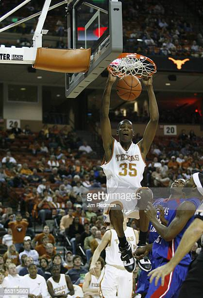 Texas Longhorn Kevin Durant slam dunks in the game against the UT Arlington Mavericks at the Frank Erwin Center in Austin Texas on Tuesday January 2...