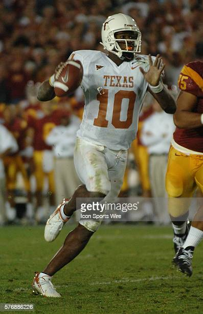 Texas Longhorn quarterback Vince Young scrambles for a gain during the USC Trojans game versus Texas Longhorns in the Rose bowl game and BCS National...