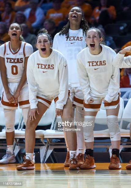 Texas Longhorns bench celebrates during a college basketball game between the Tennessee Lady Vols and Texas Longhorns on December 8 at...