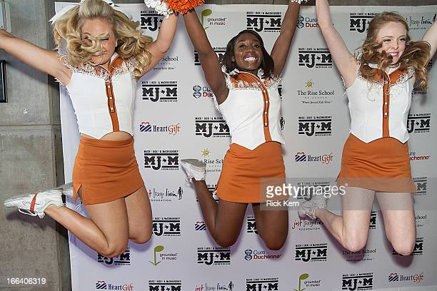 Texas Longhorns Cheerleaders arrive at the first Mack Jack McConaughey charity gala at ACL Live on April 11 2013 in Austin Texas
