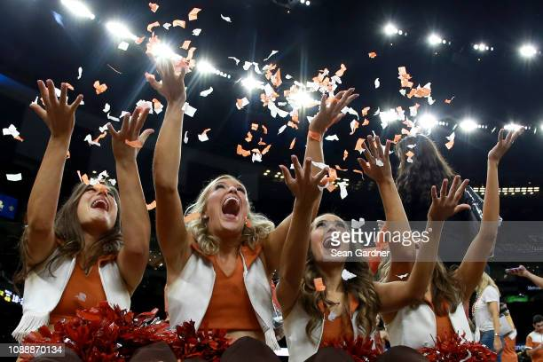 Texas Longhorns cheerleaders celebrate after their team defeated the Georgia Bulldogs 28 21 during the Allstate Sugar Bowl at the MercedesBenz...