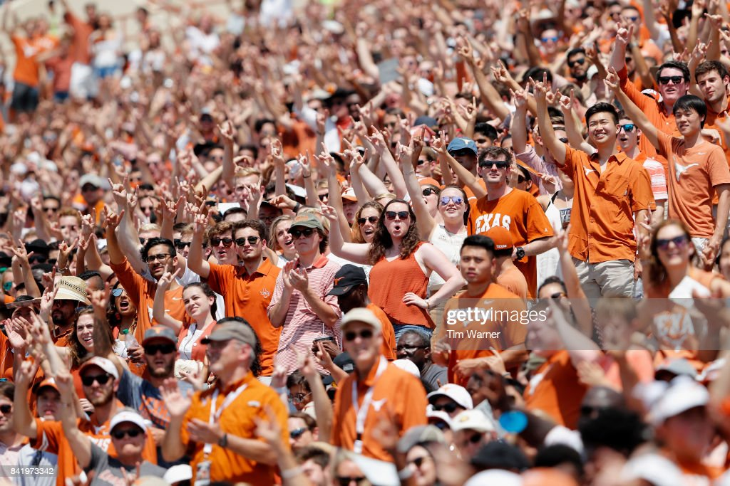 Texas Longhorns fans celebrate the start of the fourth quarter against the Maryland Terrapins at Darrell K Royal-Texas Memorial Stadium on September 2, 2017 in Austin, Texas.